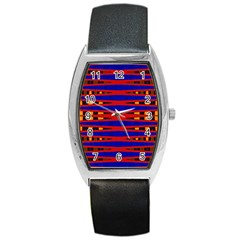 Bright Blue Red Yellow Mod Abstract Barrel Style Metal Watch by BrightVibesDesign