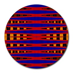 Bright Blue Red Yellow Mod Abstract Round Mousepads by BrightVibesDesign
