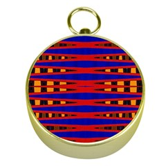 Bright Blue Red Yellow Mod Abstract Gold Compasses by BrightVibesDesign