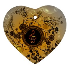 Decorative Clef On A Round Button With Flowers And Bubbles Heart Ornament (2 Sides) by FantasyWorld7