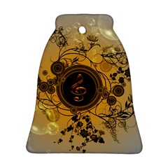 Decorative Clef On A Round Button With Flowers And Bubbles Bell Ornament (2 Sides) by FantasyWorld7
