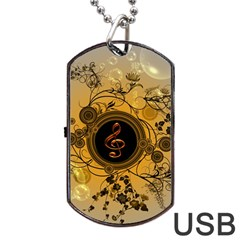 Decorative Clef On A Round Button With Flowers And Bubbles Dog Tag Usb Flash (one Side) by FantasyWorld7