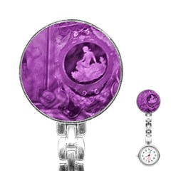 Vintage Purple Lady Cameo Stainless Steel Nurses Watch by BrightVibesDesign