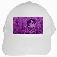 Vintage Purple Lady Cameo White Cap by BrightVibesDesign