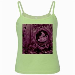 Vintage Purple Lady Cameo Green Spaghetti Tank by BrightVibesDesign
