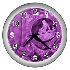 Vintage Purple Lady Cameo Wall Clocks (silver)  by BrightVibesDesign