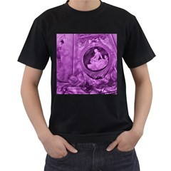 Vintage Purple Lady Cameo Men s T Shirt (black) (two Sided) by BrightVibesDesign