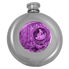 Vintage Purple Lady Cameo Round Hip Flask (5 Oz) by BrightVibesDesign