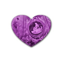 Vintage Purple Lady Cameo Heart Coaster (4 Pack)  by BrightVibesDesign