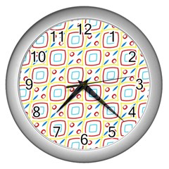 Squares Rhombus And Circles Pattern  			wall Clock (silver) by LalyLauraFLM