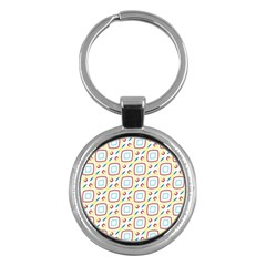 Squares Rhombus And Circles Pattern  key Chain (round) by LalyLauraFLM