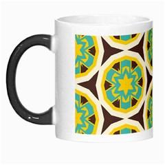 Blue Yellow Flowers Pattern Morph Mug by LalyLauraFLM