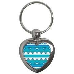 Blue Triangles And Stripes  key Chain (heart) by LalyLauraFLM