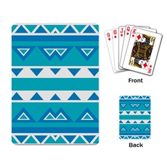 Blue Triangles And Stripes  			playing Cards Single Design by LalyLauraFLM