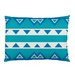 Blue Triangles And Stripes  pillow Case by LalyLauraFLM