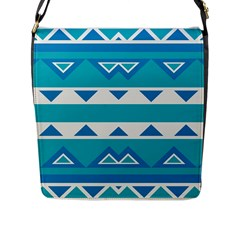 Blue Triangles And Stripes  			flap Closure Messenger Bag (l) by LalyLauraFLM