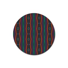 Wavy Chains Pattern     rubber Round Coaster (4 Pack) by LalyLauraFLM