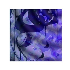Blue Theater Drama Comedy Masks Small Satin Scarf (square)  by BrightVibesDesign