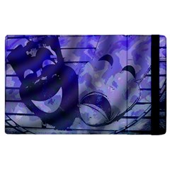 Blue Comedy Drama Theater Masks Apple Ipad 3/4 Flip Case by BrightVibesDesign