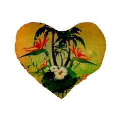 Tropical Design With Flowers And Palm Trees Standard 16  Premium Flano Heart Shape Cushions by FantasyWorld7