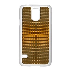 Yellow Gold Khaki Glow Pattern Samsung Galaxy S5 Case (white) by BrightVibesDesign