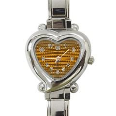 Yellow Gold Khaki Glow Pattern Heart Italian Charm Watch by BrightVibesDesign