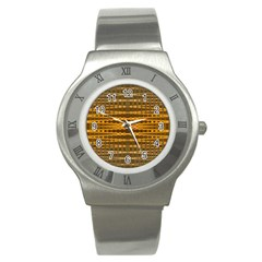 Yellow Gold Khaki Glow Pattern Stainless Steel Watch by BrightVibesDesign