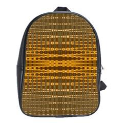 Yellow Gold Khaki Glow Pattern School Bags (xl)  by BrightVibesDesign