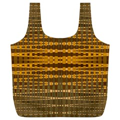 Yellow Gold Khaki Glow Pattern Full Print Recycle Bags (L)  by BrightVibesDesign