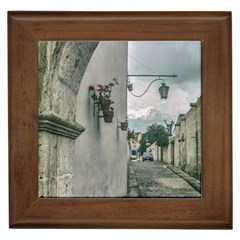 Colonial Street Of Arequipa City Peru Framed Tiles by dflcprints