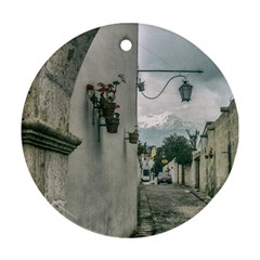 Colonial Street Of Arequipa City Peru Ornament (round)  by dflcprints