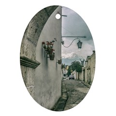 Colonial Street Of Arequipa City Peru Ornament (oval)  by dflcprints