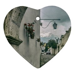 Colonial Street Of Arequipa City Peru Ornament (heart)  by dflcprints