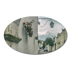 Colonial Street Of Arequipa City Peru Oval Magnet by dflcprints