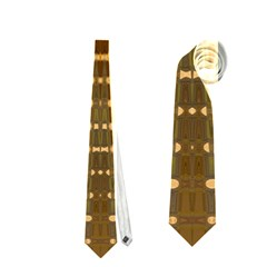 Yellow Gold Khaki Glow Pattern Neckties (two Side)  by BrightVibesDesign