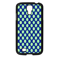 Mod Retro Green Circles On Blue Samsung Galaxy S4 I9500/ I9505 Case (black) by BrightVibesDesign