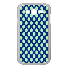 Mod Retro Green Circles On Blue Samsung Galaxy Grand Duos I9082 Case (white) by BrightVibesDesign