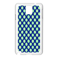 Mod Retro Green Circles On Blue Samsung Galaxy Note 3 N9005 Case (White) by BrightVibesDesign