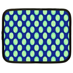 Mod Retro Green Circles On Blue Netbook Case (xl)  by BrightVibesDesign