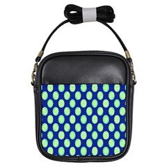 Mod Retro Green Circles On Blue Girls Sling Bags by BrightVibesDesign