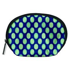 Mod Retro Green Circles On Blue Accessory Pouches (Medium)  by BrightVibesDesign