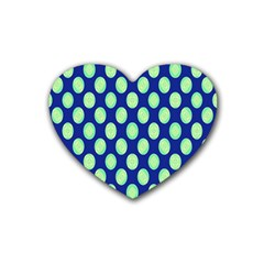 Mod Retro Green Circles On Blue Heart Coaster (4 Pack)  by BrightVibesDesign