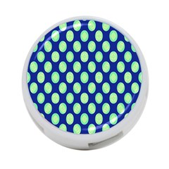 Mod Retro Green Circles On Blue 4 Port Usb Hub (one Side) by BrightVibesDesign