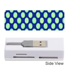 Mod Retro Green Circles On Blue Memory Card Reader (stick)  by BrightVibesDesign