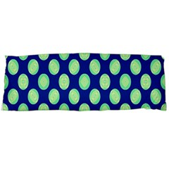 Mod Retro Green Circles On Blue Body Pillow Case Dakimakura (two Sides) by BrightVibesDesign