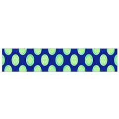 Mod Retro Green Circles On Blue Flano Scarf (Small)  by BrightVibesDesign