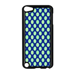 Mod Retro Green Circles On Blue Apple Ipod Touch 5 Case (black) by BrightVibesDesign