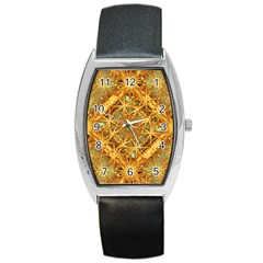 Digital Abstract Geometric Collage Barrel Style Metal Watch by dflcprints