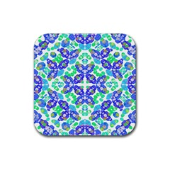 Stylized Floral Check Seamless Pattern Rubber Square Coaster (4 Pack)  by dflcprints