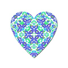 Stylized Floral Check Seamless Pattern Heart Magnet by dflcprints